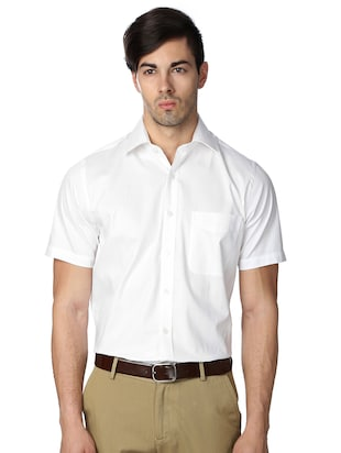 white cotton blend formal shirt - 15608686 - Standard Image - 1