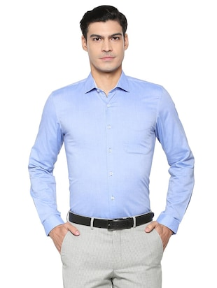 blue cotton blend formal shirt - 15608688 - Standard Image - 1