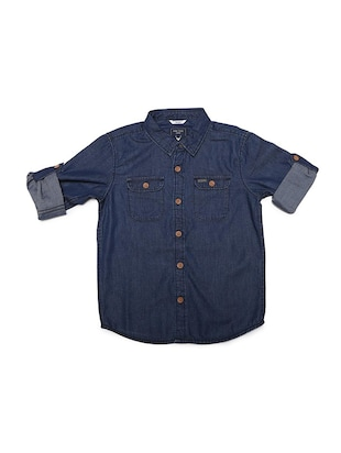 blue cotton blend shirt - 15608886 - Standard Image - 1