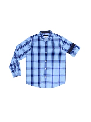 blue cotton blend shirt - 15608917 - Standard Image - 1