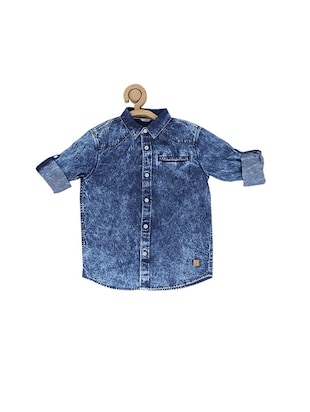 blue cotton blend shirt - 15609005 - Standard Image - 1