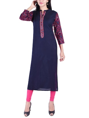 Embroidered straight kurta - 15609224 - Standard Image - 1
