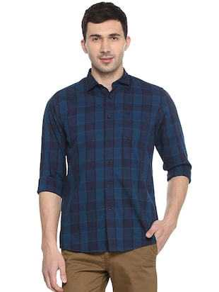 blue cotton casual shirt - 15609269 - Standard Image - 1
