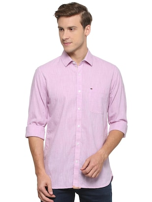 purple cotton casual shirt - 15609280 - Standard Image - 1