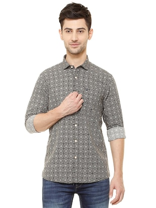 black cotton casual shirt - 15609307 - Standard Image - 1
