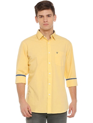 yellow cotton casual shirt - 15609334 - Standard Image - 1