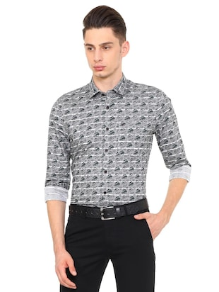 grey cotton blend casual shirt - 15609351 - Standard Image - 1