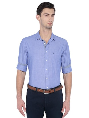 blue cotton blend casual shirt - 15609382 - Standard Image - 1