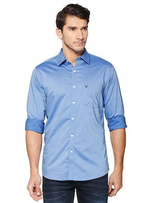 blue cotton casual shirt - 15609396 - Standard Image - 1