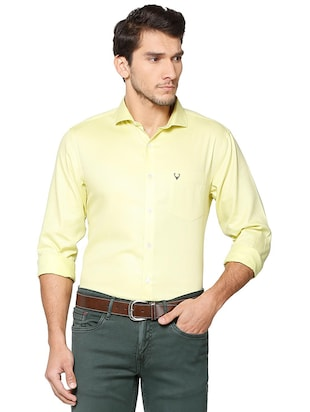 yellow cotton casual shirt - 15609402 - Standard Image - 1