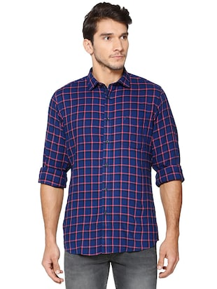 blue polyester blend casual shirt - 15609403 - Standard Image - 1