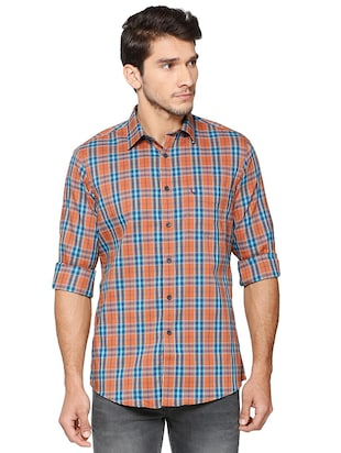 brown cotton blend casual shirt - 15609411 - Standard Image - 1