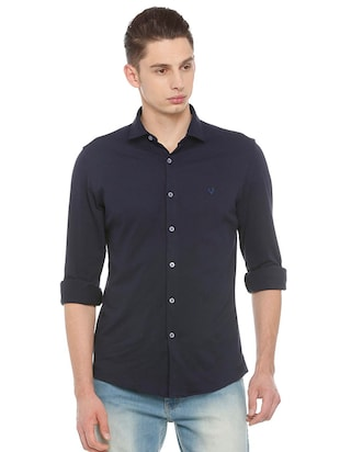 blue cotton casual shirt - 15609415 - Standard Image - 1