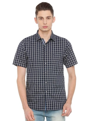 blue cotton casual shirt - 15609417 - Standard Image - 1
