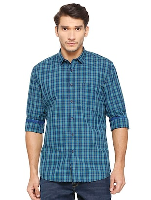 blue cotton casual shirt - 15609446 - Standard Image - 1