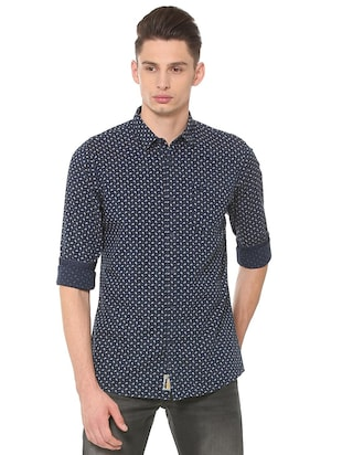 navy blue cotton casual shirt - 15609451 - Standard Image - 1