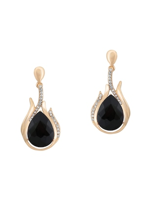 Black Gold Tone Drop Earrings - 15609678 - Standard Image - 1