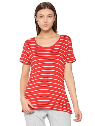 round neck stripped tee - 15610753 - Standard Image - 1