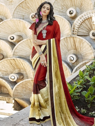 Contrast bordered printed saree with blouse - 15611548 - Standard Image - 1