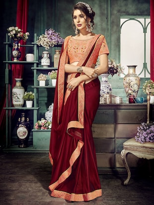 Zari lace bordered saree with blouse - 15611551 - Standard Image - 1