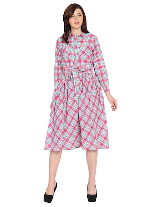 pocket patch checkered fit and flare dress - 15611722 - Standard Image - 1