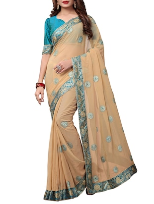 floral embroidered saree with blouse - 15611731 - Standard Image - 1