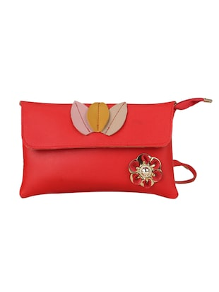 red leatherette (pu) regular sling bag - 15611744 - Standard Image - 1