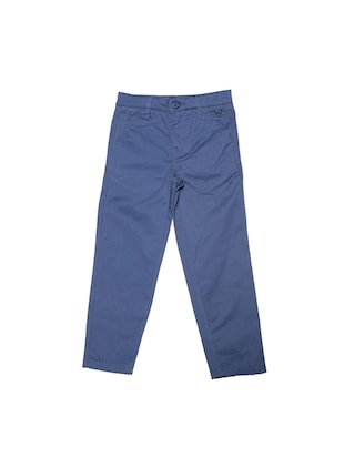 blue cotton blend chinos - 15611880 - Standard Image - 1