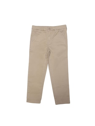 beige cotton blend chinos - 15611885 - Standard Image - 1