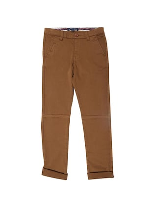 brown cotton blend chinos - 15611889 - Standard Image - 1