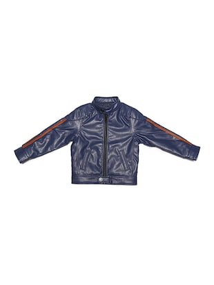 navy blue leather jacket - 15611931 - Standard Image - 1