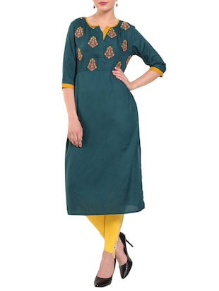 Teal embroidered straight kurta - 15612051 - Standard Image - 1