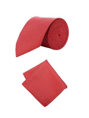 red microfiber tie with pocketsquare - 15612092 - Standard Image - 1
