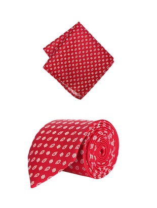 red microfiber tie with pocketsquare - 15612104 - Standard Image - 1