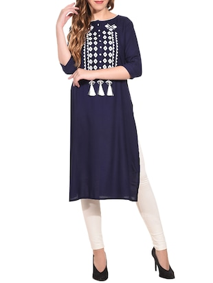 Embroidered straight kurta with tassels - 15612127 - Standard Image - 1
