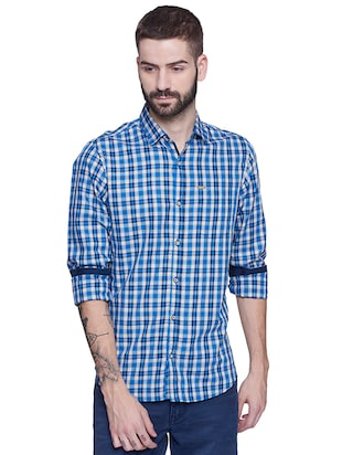 blue cotton casual shirt - 15612309 - Standard Image - 1