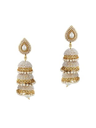 Gold Tone Pearl Inspired Earrings - 15612419 - Standard Image - 1