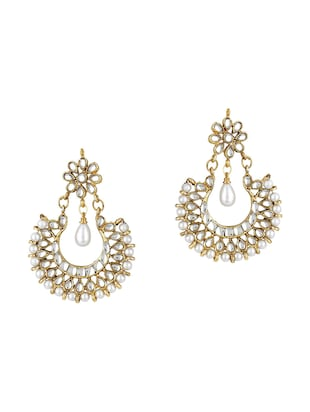 Gold Tone Kundan Earrings - 15612422 - Standard Image - 1