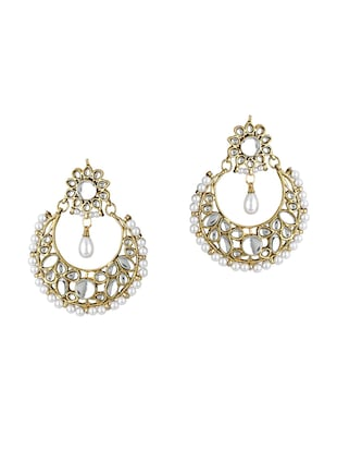 Gold Tone Kundan Earrings - 15612423 - Standard Image - 1