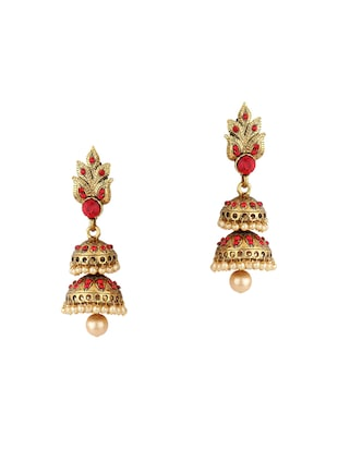 Red Gold Tone Jhumka - 15612446 - Standard Image - 1