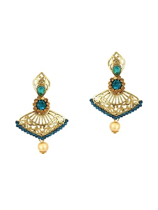 Green Gold Tone Earrings - 15612496 - Standard Image - 1