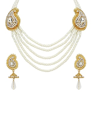 white Gold Tone Necklace & Earrings Set - 15612547 - Standard Image - 1