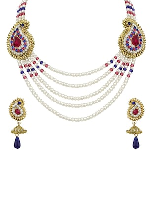 purple Gold Tone Necklace & Earrings Set - 15612553 - Standard Image - 1