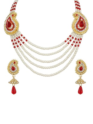 Red Gold Tone Necklace & Earrings Set - 15612554 - Standard Image - 1