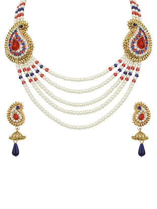 Multi Colored Gold Tone Necklace & Earrings Set - 15612555 - Standard Image - 1