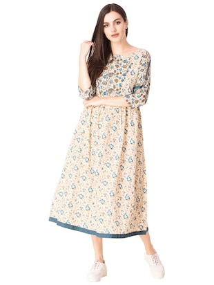 Flared printed slit sleeves dress - 15612652 - Standard Image - 1