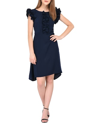 navy blue frill detail asymmetric dress - 15612875 - Standard Image - 1