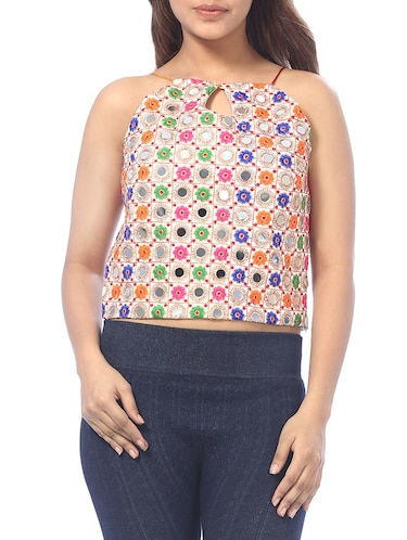 Key hole neck mirror work crop top - 15613023 - Standard Image - 1