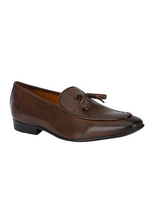 brown Leather tassel slip ons - 15613245 - Standard Image - 1