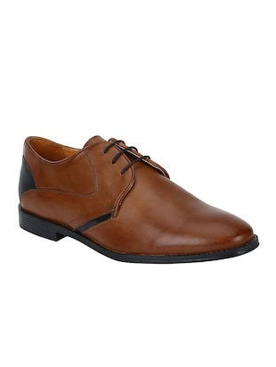 tan Leather lace-up derbys - 15613355 - Standard Image - 1
